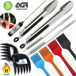 11-Pieces BBQ Accessories Grill Tools Stainless Steel Tongs