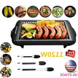 1120W Electric Grill Griddle NonStick Indoor Barbecue Kitche