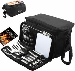 12 PCS BBQ Accessories Grill Tools Set Utensils Stainless St