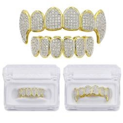 14K Gold Plated Hip Hop Iced Out CZ Grillz Fang Top Bottom G