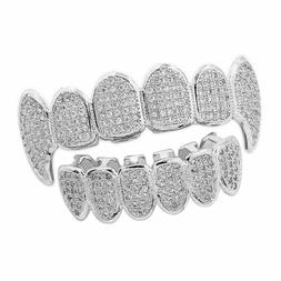 14K Silver Plated Hip Hop Iced Out CZ Grillz Fang Top&Bottom