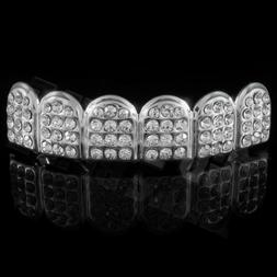 14K White Gold ICED OUT CZ Teeth Top Silver GRILL Set JOKER