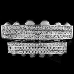 14k White Gold Plated Iced Out GRILLZ Top Bottom Silver Set