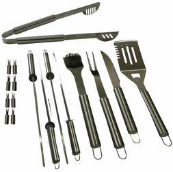 17 Piece Stainless Steel BBQ Grilling Tools Set / Outdoor Ba