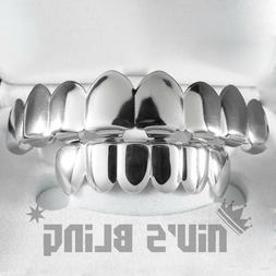 18K White Gold Plated Mouth GRILLZ Custom Teeth 8 Top Bottom
