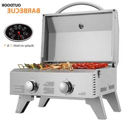 VIVOHOME 2 Burner Portable Stainless Steel Barbecue Table To