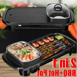 2 In 1 Electric Barbecue Pan Grill Shabu Cook Fry BBQ Oven H