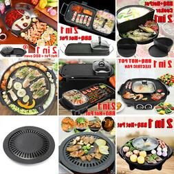 2 In 1 Electric Barbecue Pan Grill Teppanyaki Cook Fry BBQ O
