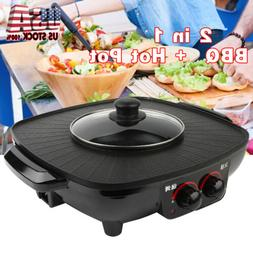 2 in 1 Electric Grill Pan BBQ 1.8L Hot Pot Home Kitchen Cook