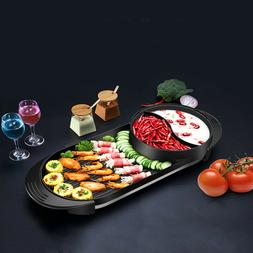 2 In 1 Multifunction Non-Smoke Electric Hot Pot Barbecue Pan