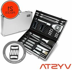 21 Piece Grill Accessories Tools Set, BBQ Utensils w/ Carryi