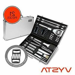 Vysta 21 Piece Grill Accessories Tools Set - BBQ Utensils wi