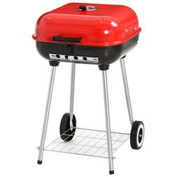 "19"" Steel Porcelain Portable Outdoor Charcoal Barbecue Gri"
