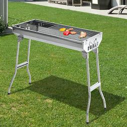 "Outsunny 29"" BBQ Charcoal Grill Stainless Steel Fordable Bac"