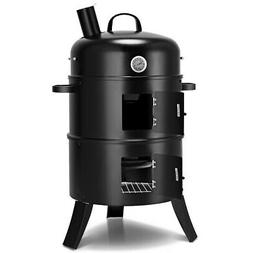 3-in-1 Portable Round Charcoal Smoker Perfect Vertical BBQ G