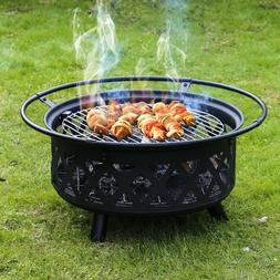 Kinbor 30'' Fire Pit with Cooking Grate Outdoor Heating Gril