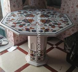 """30"""" White Marble Coffee Table Top With Stand Grill Multi Flo"""