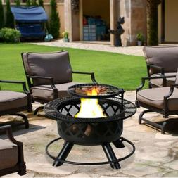 """32"""" Fire Pit Backyard Patio Garden Fire Pit with Camping Coo"""