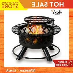 BALI OUTDOORS 32in Wood Burning Patio Round Fire Pit Backyar