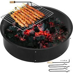 """36"""" Steel Fire Ring Outdoors Grill Swivels 360 Degrees Campf"""