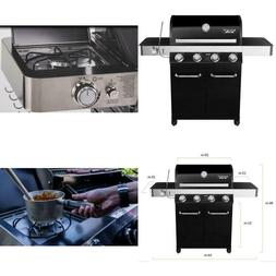 4-Burner Propane Gas Grill In Black With Led Controls, Side