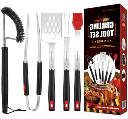 5pc Stainless BBQ Grilling Utensil Tool Set, Heavy Duty Gril