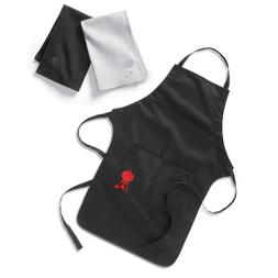 Weber 6475 Black Barbecue Apron with Black and White Towel S