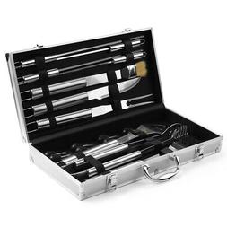 BBQ Grilling Accessories Tools Set with Aluminum Storage Cas
