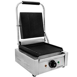 """Chef's Supreme - Commercial Panini Grill w/ 9"""" x 9"""" Grooved"""