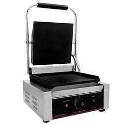 "Chef's Supreme - Commercial Panini Grill w/ 9"" x 9"" Smooth P"