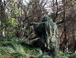 ABCAMO Adult Size Woodland Camouflage Ghillie Suit for Hunti