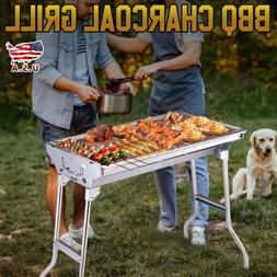 BBQ Fold Barbecue Charcoal Grill Stove Shish Kabob Stainless