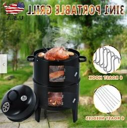 Outdoor BBQ Charcoal Water Smoker Grill  Barbecue Cooker Bac
