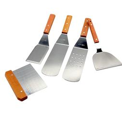 BBQ Spatula Set Stainless Steel Wood Handle Cooking Serving