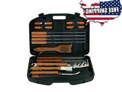 BBQ Tools Set 18 Piece Kit Case Stainless Steel Grill Cookin