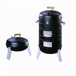 Black Charcoal 2-In-1 Water Smoker Combo Lock N Go Portable
