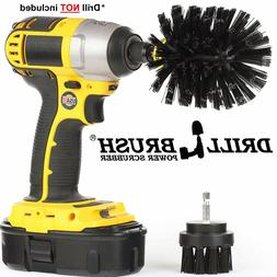 2 Piece Black Ultra Stiff Rotary Cleaning Drillbrushes used