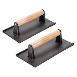 Cast Iron Steak Weight/Bacon Press with Wooden Handle, 8 x