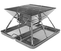 Charcoal Grill - Folding Stainless Steel Barbecue Grill for
