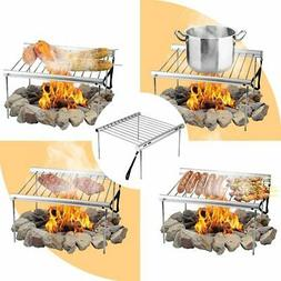 Collapsible Camping Grill Over Fire Charcoal Portable Campfi