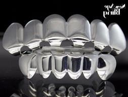 Custom Fit Silver Plated Hip Hop Joker Teeth Grillz Caps Top