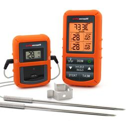 Digital Wireless Remote Meat Thermometer Cooking 2 Probes Ov