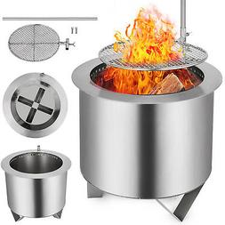 Double Fire Pit Patio Burner With BBQ Grill Smoke-less Wood-
