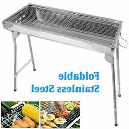 Fold Barbecue Charcoal Grill Stove Shish Kebab Stainless Ste