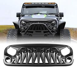 ICARS Front Matte Black Shark Grille Grid Grill for Jeep Wra