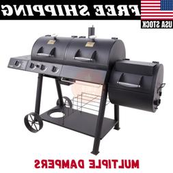 Gas & Charcoal Combo Grill W/ Smoker Outdoor Yard House Cook