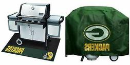 Green Bay Packers Grill Cover Grill Mat Set Weatherproof Del
