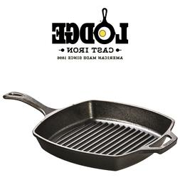 "Grill Pan by Lodge | 10.5"" Pre-Seasoned Cast Iron Square Ski"