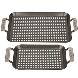 Grill Topper BBQ Grilling Pans  - Non-Stick Barbecue Trays w