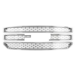 Grille Cover for GMC Yukon Front Insert Overlay -Snap On Chr
